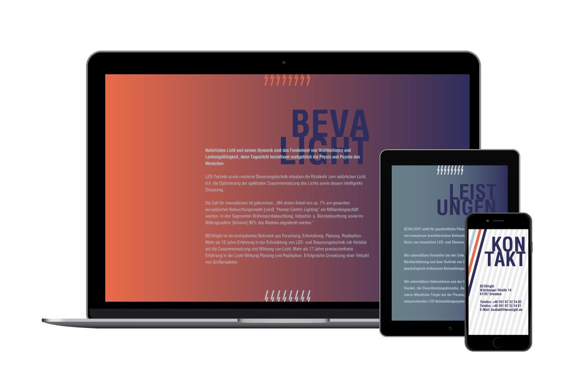 Corporate Design - Webdesign - BEVAlight